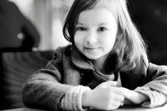 BW portrait of a beautiful little girl Stock Photography