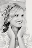 Bw portrait of beautiful smiling bride Stock Image