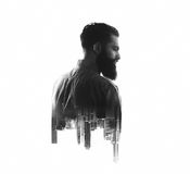 BW portrait, double exposure with bearded man and Stock Photos