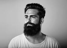 BW portrait of long beard and mustache man Stock Photo