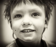 BW portrait of smiling boy Royalty Free Stock Image