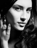 BW portrait of young brunette woman Stock Photo