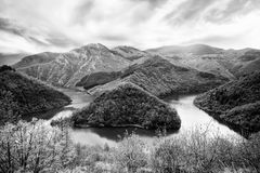Bw river in mountains Stock Image