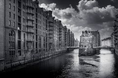 Bw Speicherstadt Στοκ Εικόνες