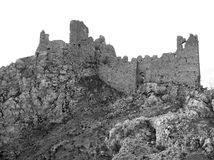 BW St Thomas Aquinas castle ruins Royalty Free Stock Photos