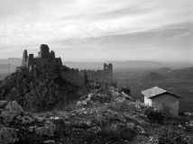 BW St Thomas Aquinas castle ruins Royalty Free Stock Photo