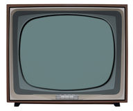 BW Television. Old nostalgic TV with clipping path inside and outside stock image