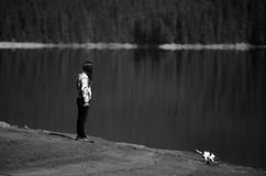 Bw woman and dog Royalty Free Stock Photography