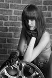 Bw  woman with wheel portrait Stock Photo