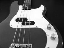 Bwguitar1. A black and white close-up of a base guitar Royalty Free Stock Images