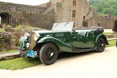 BWT618 1936 1232cc Triumph Gloria Vitesse Sports Tourer. Car green, seen at the Fougeres 2019 car rally royalty free stock images