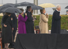 Były Prezydent USA Bill Clinton, USA Sen Hillary Clinton, były prezydent George HW Bush, Barbara Bush i inny na sceny durin, Obraz Stock