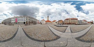 BYALYSTOK, POLAND - January 6, 2014: Full 360 equirectangular spherical panorama in street of the old town stock photos
