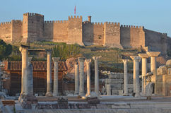 Byantine ruins and Turkish castle Royalty Free Stock Photos