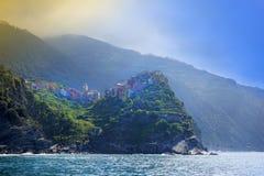 Byar på kust av det LaSpezia landskapet i Liguria, Italien arkivfoto
