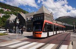 Bybanen轻的铁路运输在卑尔根,挪威 图库摄影