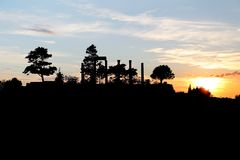 Byblos. Archaeology Site Roman Columns at Sunset Stock Photo