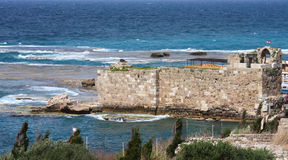 Byblos Harbor Archeological Site, Lebanon Stock Image