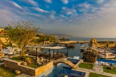 Byblos Jbeil Ancient old harbour port Lebanon Stock Photography
