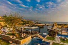 Byblos Jbeil forntida gammal hamnport Libanon Arkivbild