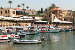 Byblos town and harbor, Lebanon Stock Image
