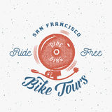 Bycicle Bell Abstract Retro Vector Label or Logo Stock Photography