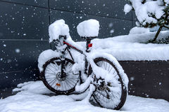 Bycicle covered by snow. Stock Images