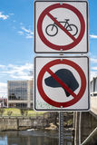 Bycicle and dogs sign. No bycicle and dogs allowed sign on a nice sunny day Royalty Free Stock Image