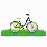 Bycicle on grass isolated on white Stock Photo