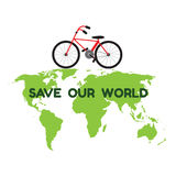 Bycicle on green world map and word save our world for environme Stock Photography