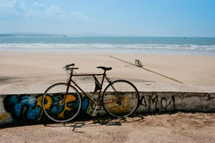 Bycicle near the beach in Essaouira, Morocco. Bycicle left alone near the beach in Essaouira, Morocco Royalty Free Stock Image