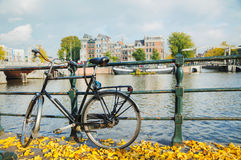 Bycicle parked at the bridge. In Amsterdam Royalty Free Stock Image