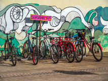 Bycicle Parking. Town of Porto de Galinhas the night - Recife - Brazil Royalty Free Stock Photography