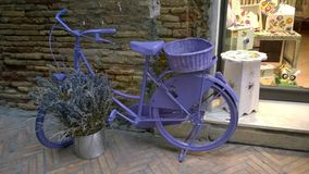 Bycicle. A particular bycicle coloured of violet Stock Photography