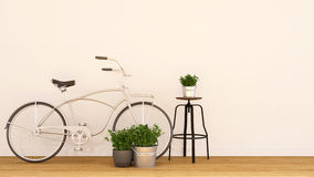 Bycicle pearl white and indoor garden-3d rendering Stock Images
