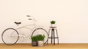 Bycicle-Perlenweiße und Innen-garden-3d Wiedergabe Stockbilder
