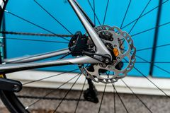 Bycicle racing brake system. With ished rotor and black caliper stock photo