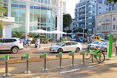 Bycicle rent in Tel Aviv royalty free stock images