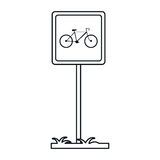 Bycicle road sign parking post linear. Vector illustration eps 10 vector illustration
