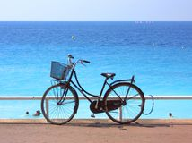 Bycicle on the sea stock photo