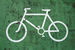 Bycicle sign. On the road Royalty Free Stock Image