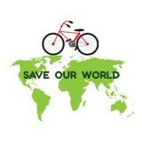 Bycicle sulla mappa di mondo verde e la parola conservano il nostro mondo per environme Fotografia Stock