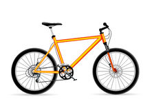 Yellow Bicycle. Vector yellow mountain bicycle isolated vector illustration