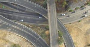 Bycicles路从上面在高速公路 股票录像