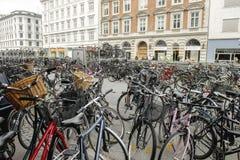 Bycicles a Copenhaghen Fotografie Stock