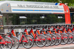 Bycicles in downtown Washington DC. A group of red bycicles in downtown Washington DC Royalty Free Stock Image