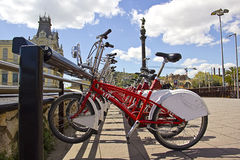 Bycicles rental service in Barcelona Royalty Free Stock Images