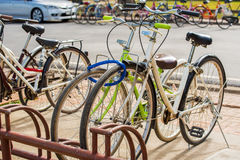 Bycicles rental service in Sukhothai historical park ,Thailand. Royalty Free Stock Photography