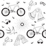 Bycicles seamless pattern stock illustration