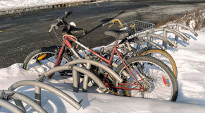 Bycicles in snow Stock Photo